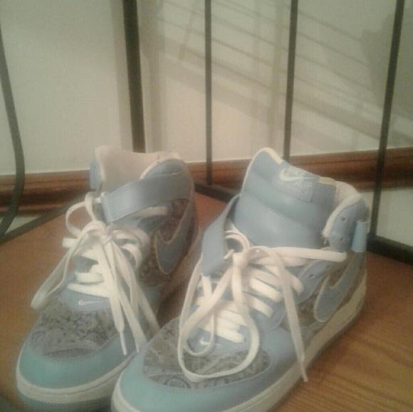 Nike Shoes Air Force 1 Light Bluepaisley Poshmark